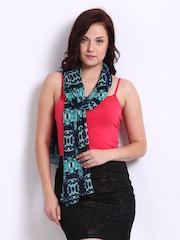 DressBerry Women Navy & Green Printed Scarf