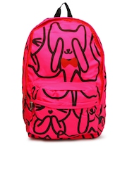 DressBerry Women Neon Pink Printed Backpack