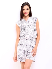 DressBerry Women Off-White & Purple Floral Print Playsuit