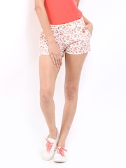 DressBerry Women Off-White & Pink Floral Print Shorts