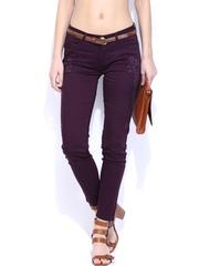 DressBerry Women Purple Printed Skinny Fit Ankle Length Jeggings