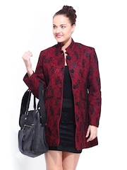 DressBerry Women Red & Black Lace Wool Blend Coat