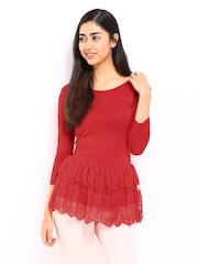DressBerry Women Red Lace Peplum Top