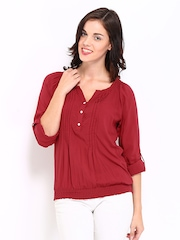 DressBerry Women Red Peasant Top