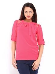 DressBerry Women Pink Mesh Shoulder Top