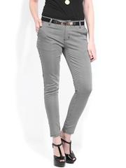 DressBerry Women White & Black Printed Trousers