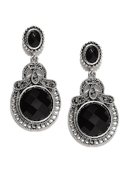 Dressberry Black & Oxidised Silver-Toned Drop Earrings