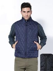 Duke Men Navy & Black Reversible Sleeveless Jacket