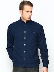 Duke Men Blue Wool Blend Cardigan