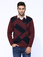 Duke Men Burgundy & Navy Sweater