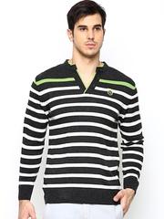 Duke Men Charcoal Grey & White Wool Blend Sweater