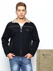 Men Khaki & Black Reversible Jacket Duke
