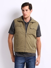 Duke Men Khaki Sleeveless Jacket