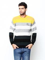 Duke Stardust Men Multicoloured Striped Wool Blend Sweater