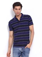Duke Men Blue Striped Polo T-shirt
