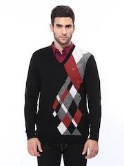Duke Men Black Argyle Wool Blend Sweater