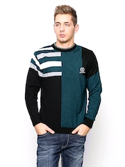 Duke Stardust Men Teal Green & Black Wool Blend Sweater