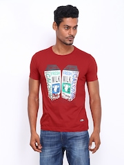 Duke Men Red Printed T-shirt