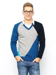 Duke Stardust Men Blue & Grey Sweater