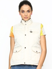 Duke Stardust Women Off-White Sleeveless Jacket