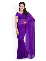 Dyefab Purple Georgette Fashion Saree