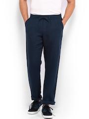 EFFC Men Navy Slim Fit Linen Trousers