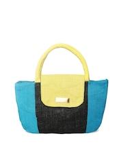 Earthen Me Black & Blue Jute Handbag