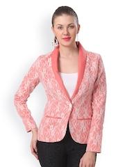 Eavan Women Peach-Coloured & White Linen Lace Blazer