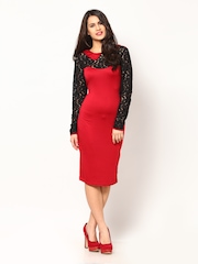 Eavan Red & Black Bodycon Dress