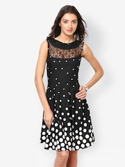 Eavan Black Polka Dot Printed Fit & Flare Dress
