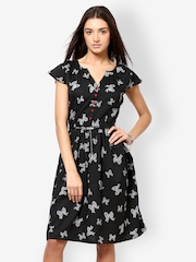 Eavan Black Printed Fit & Flare Dress
