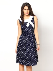Eavan Navy Printed Fit & Flare Dress