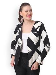 Eavan Women Black & White Printed Jacket