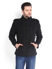 Ed Hardy Men Black Wool Coat