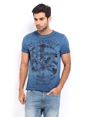 Ed Hardy Men Blue Printed T-shirt