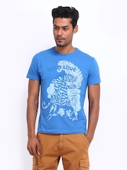 Ed Hardy Men Blue Printed T-shirt