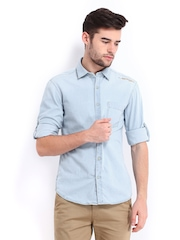 Ed Hardy Men Blue Slim Fit Denim Casual Shirt