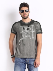 Ed Hardy Men Grey and Black Printed T-shirt