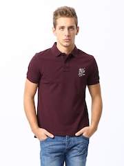 Ed Hardy Men Maroon Polo T-shirt