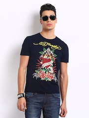 Ed Hardy Men Navy Printed T-shirt