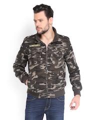 Ed Hardy Men Olive Green & Beige Camouflage Printed Jacket