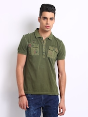 Ed Hardy Men Olive Green Polo T-shirt
