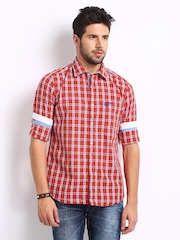 Ed Hardy Men Red & Blue Checked Casual Shirt