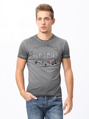 Ed Hardy Men Grey Printed T-Shirt