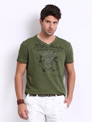 Ed Hardy Men Olive Green Printed T-shirt