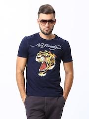 Ed Hardy Men Navy Printed T-Shirt