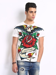 Ed Hardy Men White Printed T-shirt