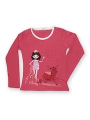 Elle Kids Girls Pink Printed T-shirt