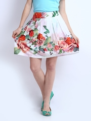 Elle White Floral Print Flared Skirt