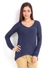 Elle Women Blue Knit Top